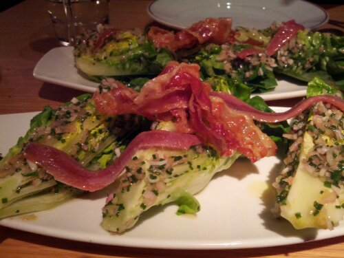 Baby Gem Salad with Anchovies and Pancetta at Fino