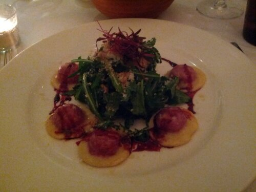 Beetroot ravioli at Bistrot Bruno Loubet