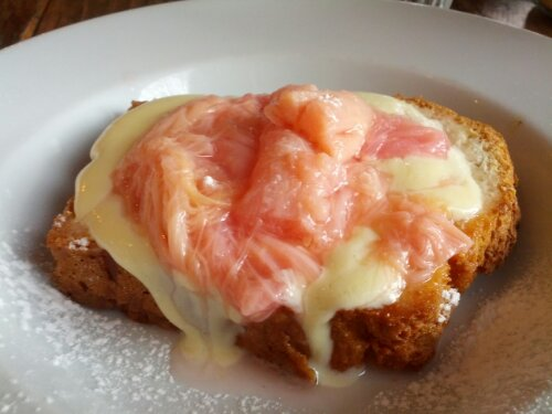 Poached rhubarb with coconut bread at Caravan