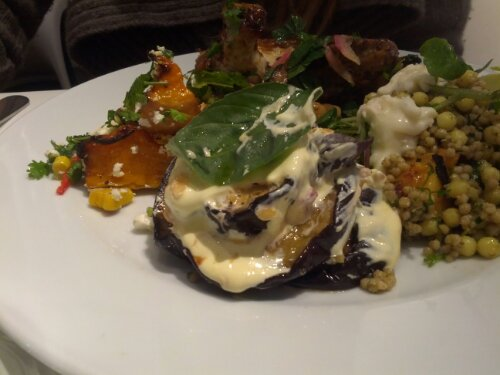Roasted Aubergine with Saffron Yoghurt and Pomegranate at Ottolenghi